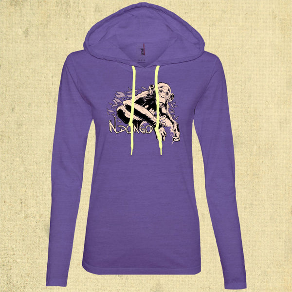 Ape Action Africa - Ladies' Lightweight Slim Fit Hooded T-shirt - Heather Purple w/ Neon Yellow Strings
