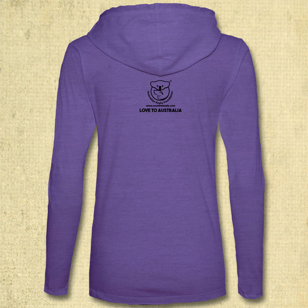 Australia Fire Relief - Ladies' Lightweight Slim Fit Hooded T-shirt - Heather Purple w/ Neon Yellow Strings