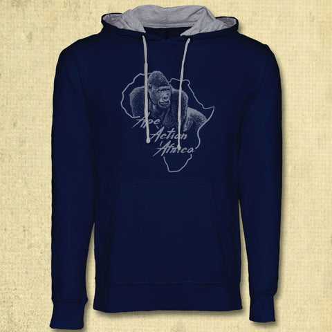 Ape Action Africa - Midweight French Terry Pullover Hoody - Navy & Grey