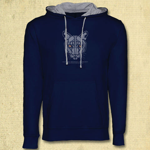 California Mountain Lion Project - Midweight French Terry Pullover Hoody - Midnight Navy & Heather Gray