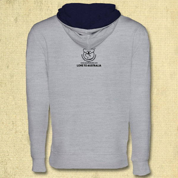 Australia Fire Relief - Midweight French Terry Pullover Hoody - Heather Grey & Navy