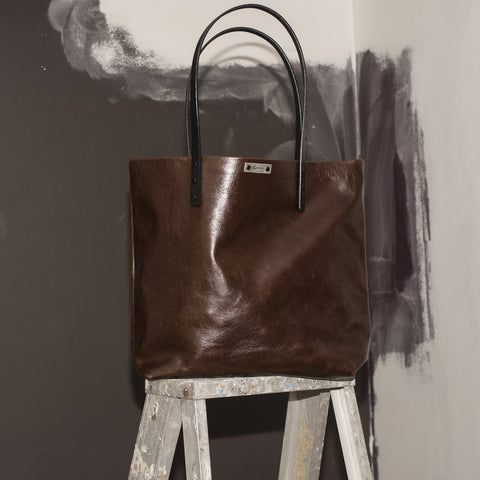 FORAGER MARKET BAG WITH FLAT LEATHER STRAP HANDLES