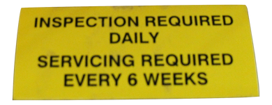 Sterling - Inspection Required Daily Sticker Label
