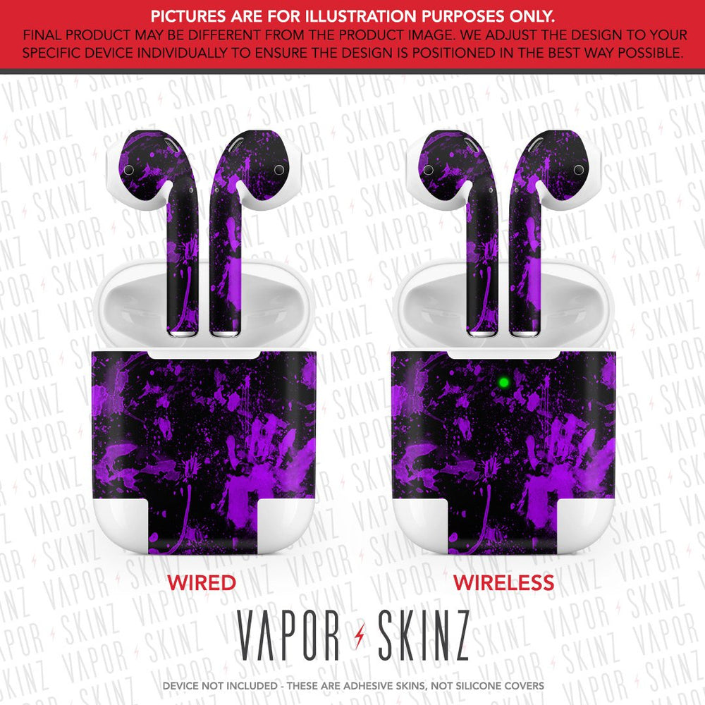 Black Purple Splatter APPLE AIRPODS Skin
