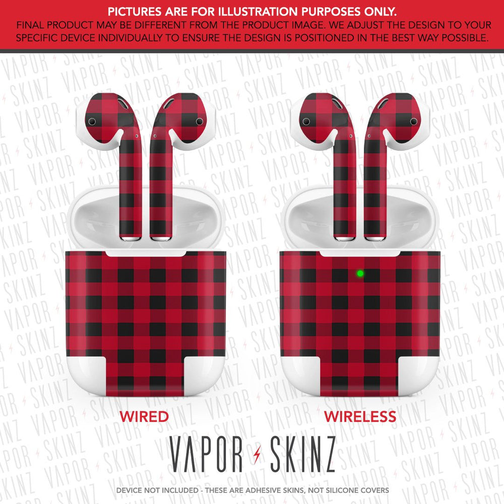 Red Plaid APPLE AIRPODS Skin