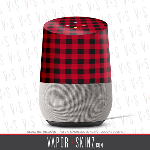 Red Plaid Google Home Skin