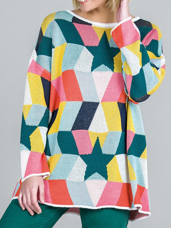 Multicolor Knitted Casual Sweater