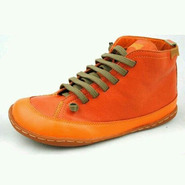 Orange Flat Heel Winter Leather Flats