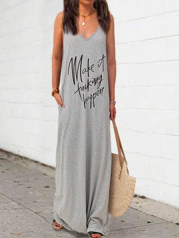 Alphabetic sleeveless T-shirt dress
