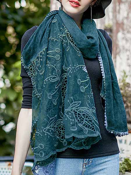 Elegant Crochet-trimmed Embroidered Plain Spring/Fall Scarf