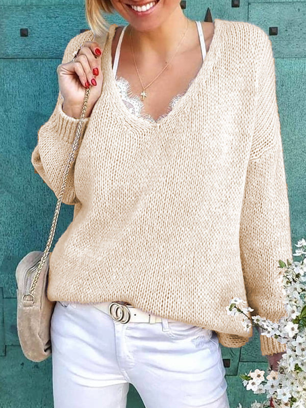 Plus Size Casual Knitted Long Sleeve Sweater