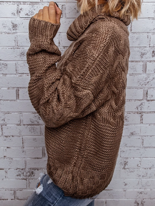 Long Sleeve Woven Cowl Neck Sweater