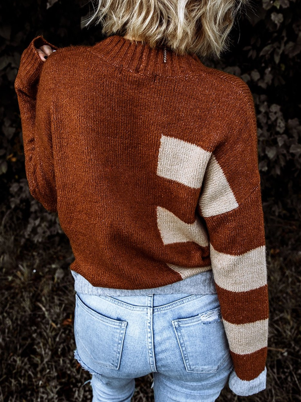 Long Sleeve O-Neck Wool Blend Sweater