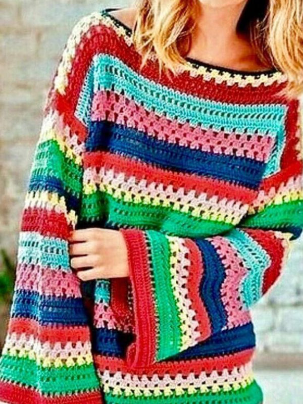 Multicolor Stripes Knitted Boho Sweater