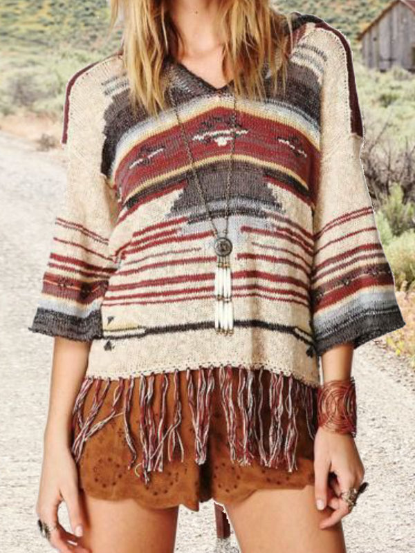 Long Sleeve Tribal Knitted Sweater