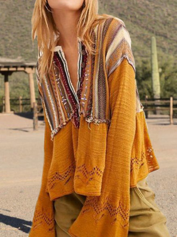 Yellow Tribal Boho Shift Tops