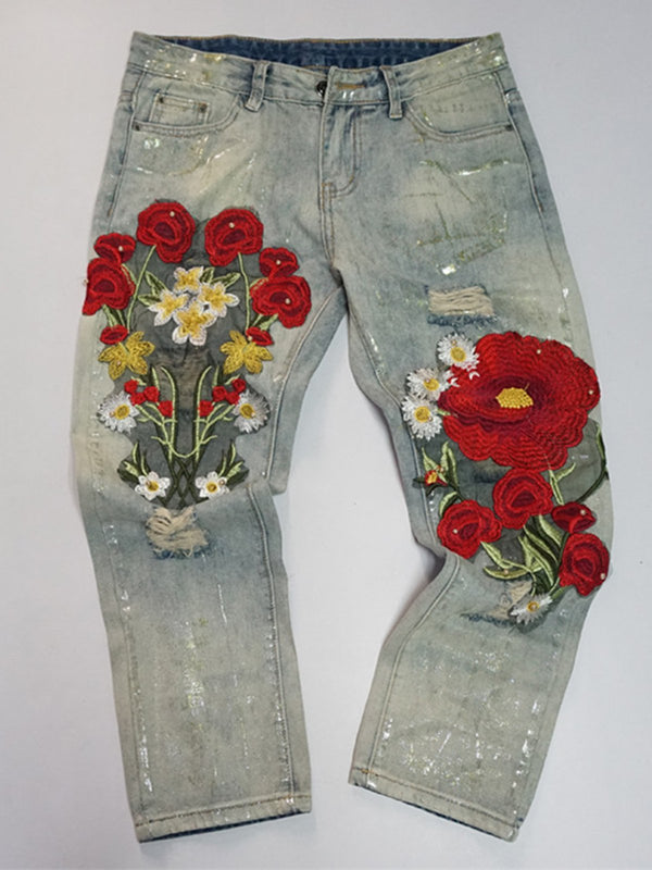 Women's Casual Floral Denim Loose Trousers