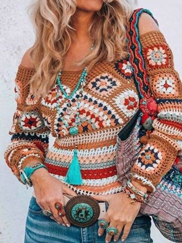 Knitted Tribal Vintage Off Shoulder Sweater