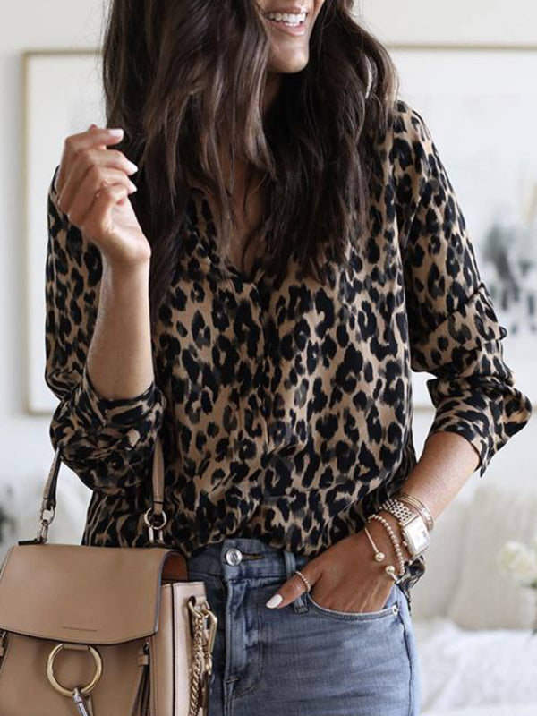 Long Sleeve V Neck Casual Printed Shirts
