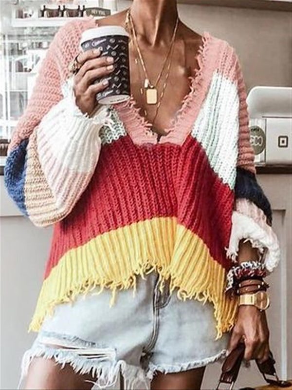 Casual Multi-color V-neck Oversize Autumn Sweater