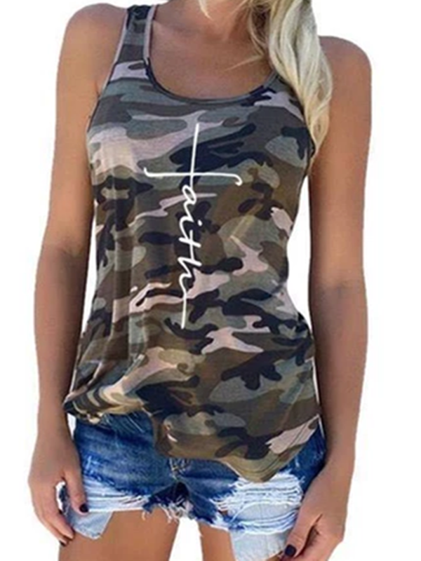Crew Neck Sleeveless Casual Shirts & Tops