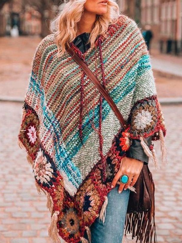Multicolor Vintage V Neck Patchwork Tassel Knitted Outerwear