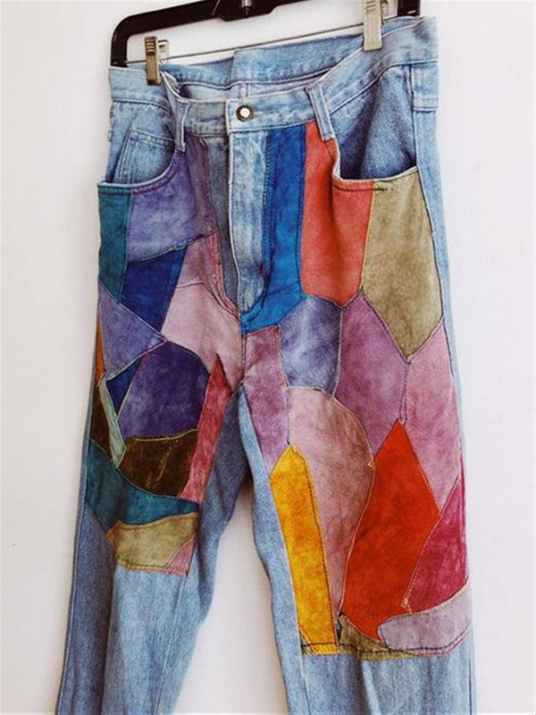 Vintage Colorful Printed Casual Denim Pants