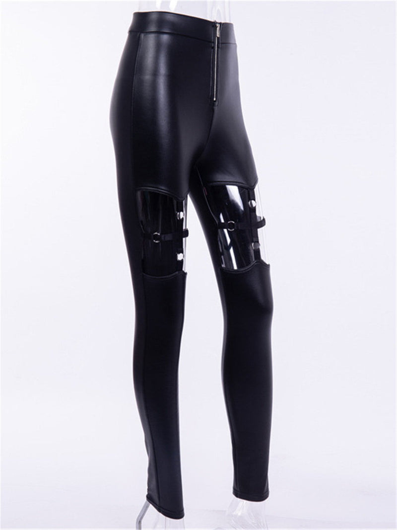 Personality cross PU leather pants
