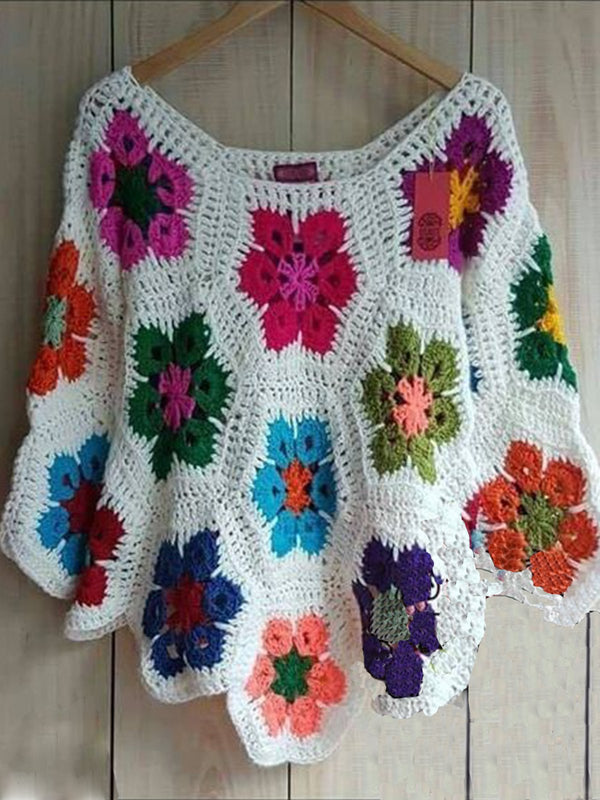 Long Sleeve Crocheted Casual Sweater
