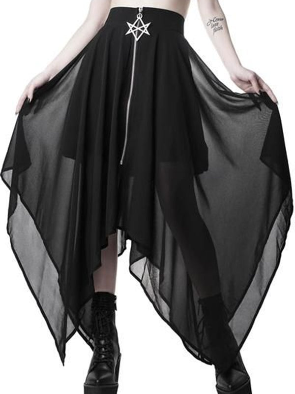 Black Tulle Solid A-Line Statement Skirts
