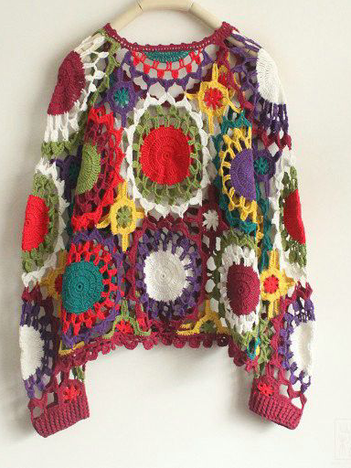 Multicolor Crew Neck Knitted Long Sleeve Sweater