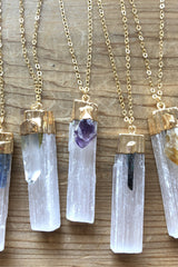 Quartz Crystal + Selenite Healing Crystal Necklace - Jessica Matrasko Jewelry