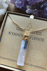 Kyanite + Selenite Healing Crystal Necklace - Jessica Matrasko Jewelry