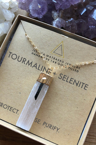 Black Tourmaline + Selenite Healing Crystal Necklace - Jessica Matrasko Jewelry