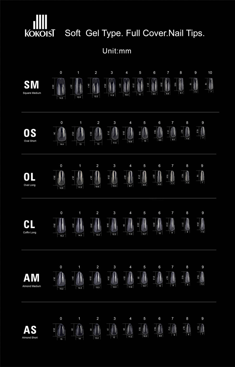 GELIP SIZE CHART