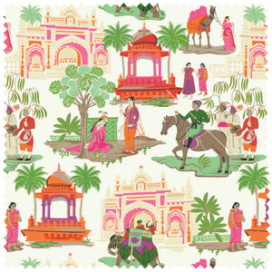 Colorful Indian Chinoiserie Fabric