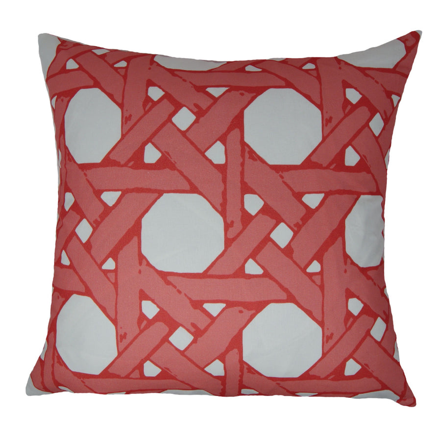 Coral Pink Cane Back Pillow