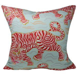 Tibetan Tiger Pillow Cover in Aqua