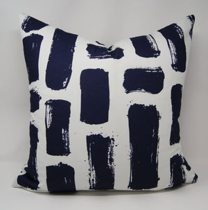 Flying White Pillow in Navy