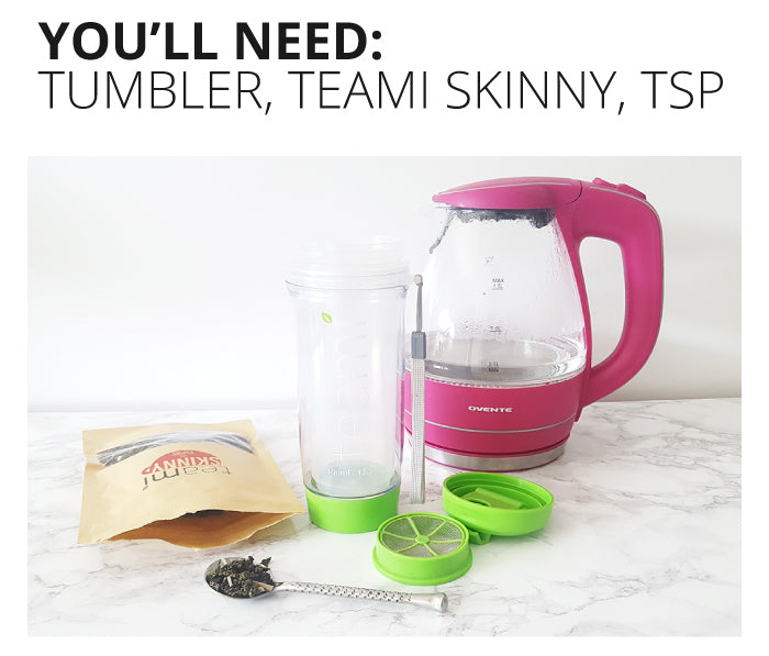 Teami Tumbler, Skinny Tea and Water kettle