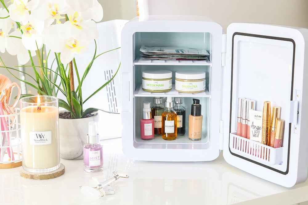teami skincare products in our skincare fridge