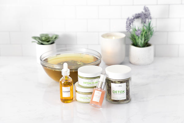 teami facial oil, detox scrub, green tea mask and facial steam tea