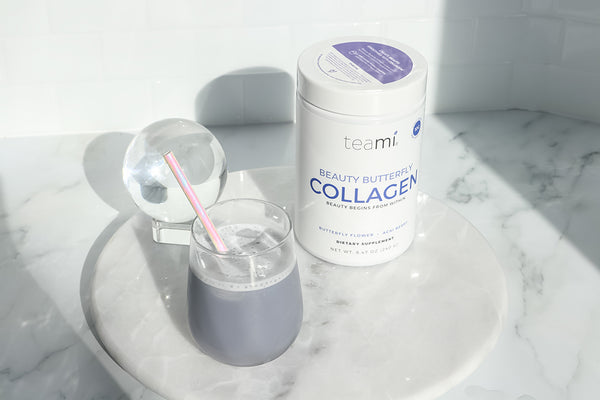 teami beauty butterfly collagen powder in a drink
