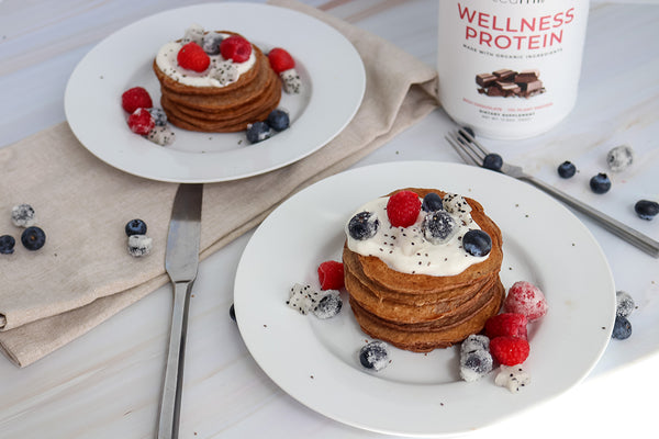 pancakes made with Teami organic plant based protein powder