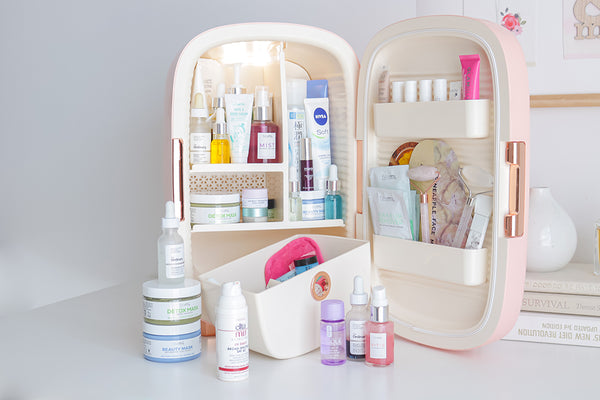 Teami Luxe Skincare Fridge with skincare and beauty products