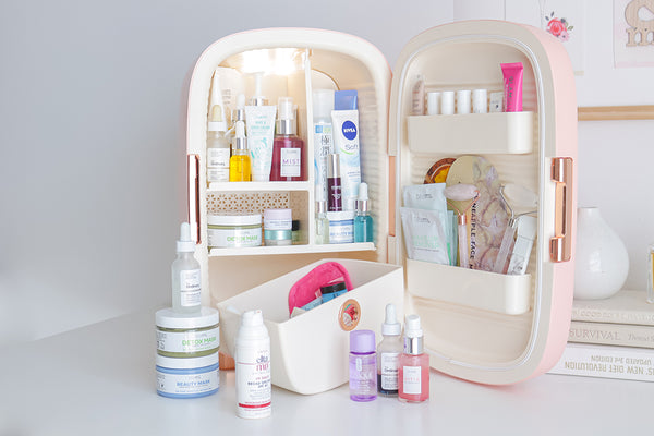 many skincare products in teami luxe skincare fridge