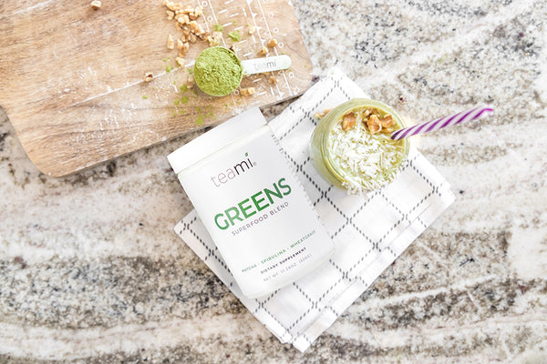 avocado smoothie with teami greens superfood powder