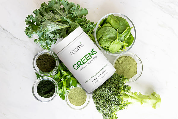 teami greens superfood powder and the veggies that make it