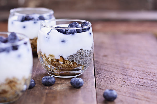 probiotic kefir yogurt and chia parfaits