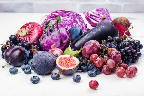 fruit and vegetables with anthocyanins
